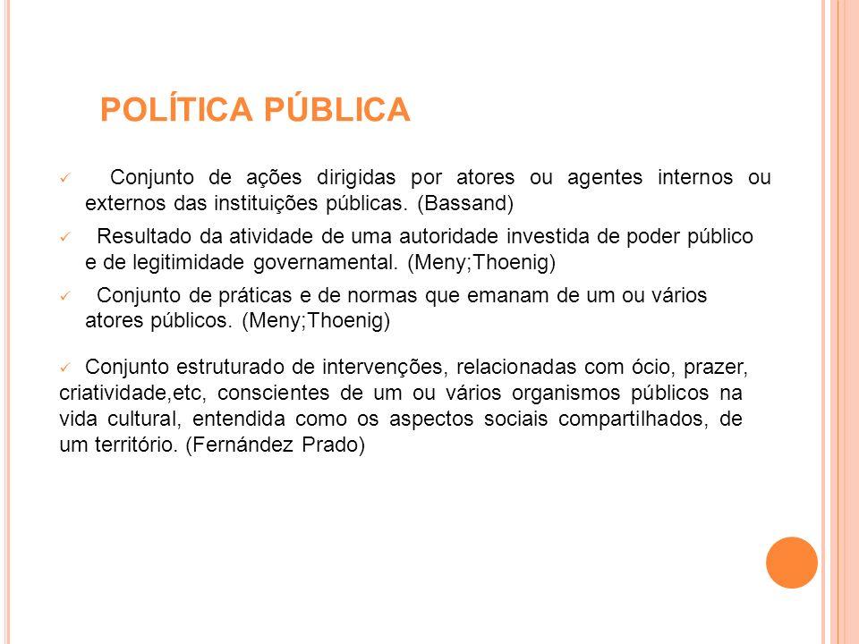 POLÍTICA PÚBLICA Conjunto de ações dirigidas por atores ou agentes internos ou externos das instituições públicas. (Bassand) Resultado da atividade de
