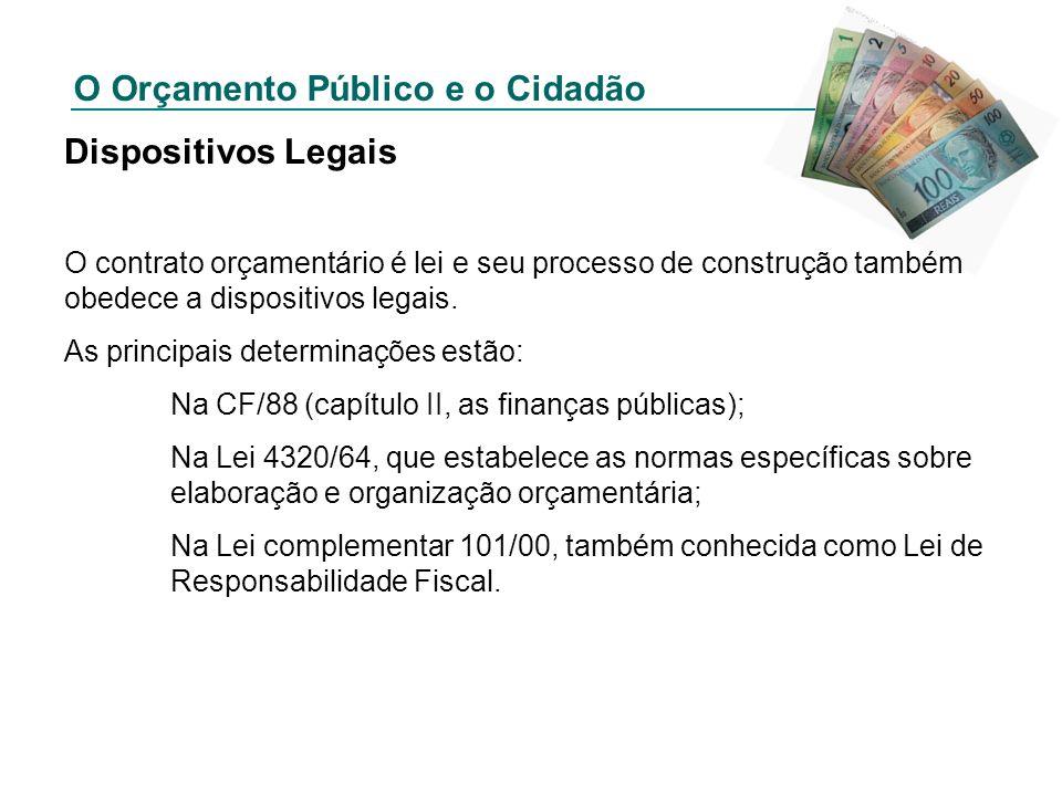 O Orçamento Público e o Cidadão Dispositivos Legais O contrato orçamentário é lei e seu processo de construção também obedece a dispositivos legais. A