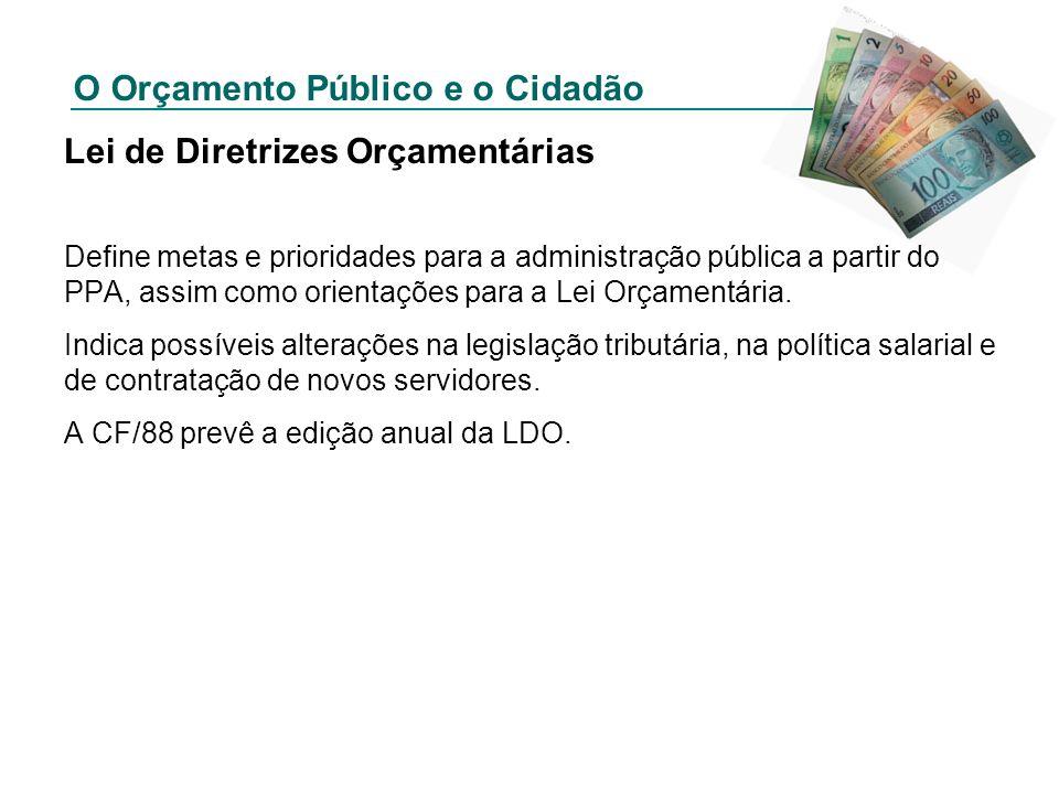 O Orçamento Público e o Cidadão Lei de Diretrizes Orçamentárias Define metas e prioridades para a administração pública a partir do PPA, assim como or