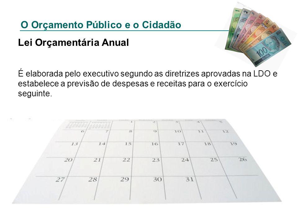 O Orçamento Público e o Cidadão Lei Orçamentária Anual É elaborada pelo executivo segundo as diretrizes aprovadas na LDO e estabelece a previsão de de