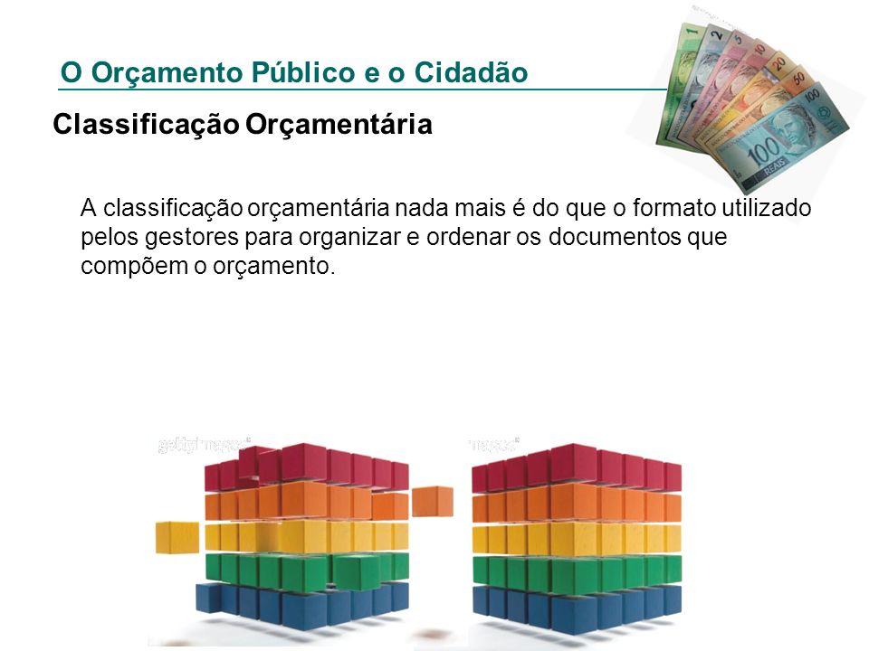O Orçamento Público e o Cidadão Classificação Orçamentária A classificação orçamentária nada mais é do que o formato utilizado pelos gestores para org