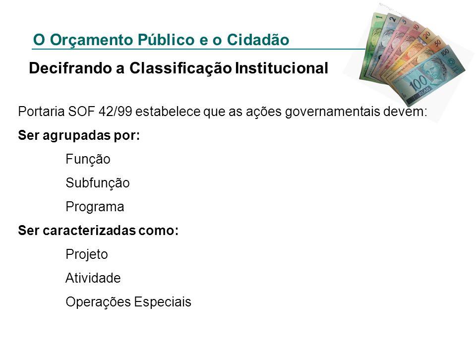 O Orçamento Público e o Cidadão Decifrando a Classificação Institucional Portaria SOF 42/99 estabelece que as ações governamentais devem: Ser agrupada