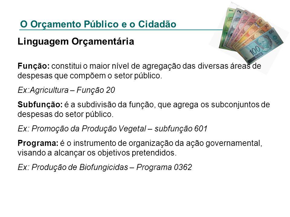 O Orçamento Público e o Cidadão Linguagem Orçamentária Função: constitui o maior nível de agregação das diversas áreas de despesas que compõem o setor