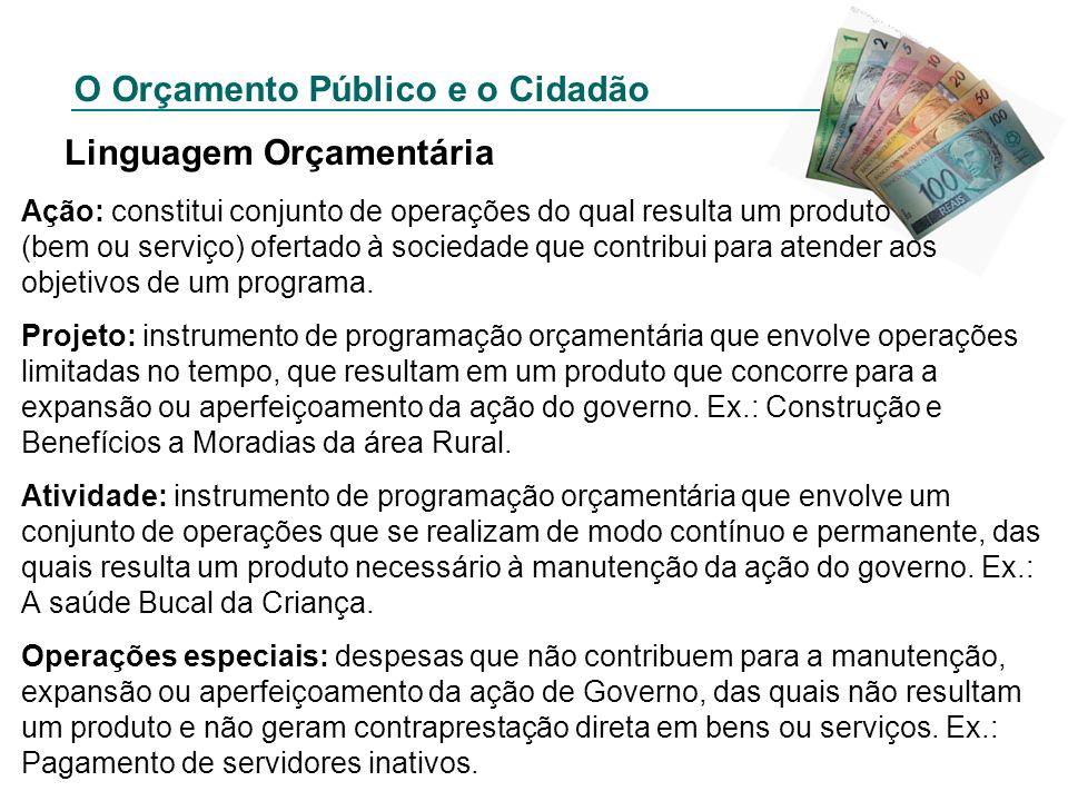 O Orçamento Público e o Cidadão Linguagem Orçamentária Ação: constitui conjunto de operações do qual resulta um produto (bem ou serviço) ofertado à so