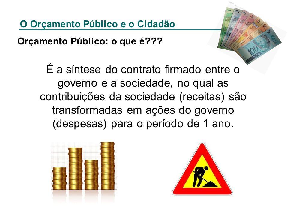 O Orçamento Público e o Cidadão Orçamento Público: o que é??? É a síntese do contrato firmado entre o governo e a sociedade, no qual as contribuições