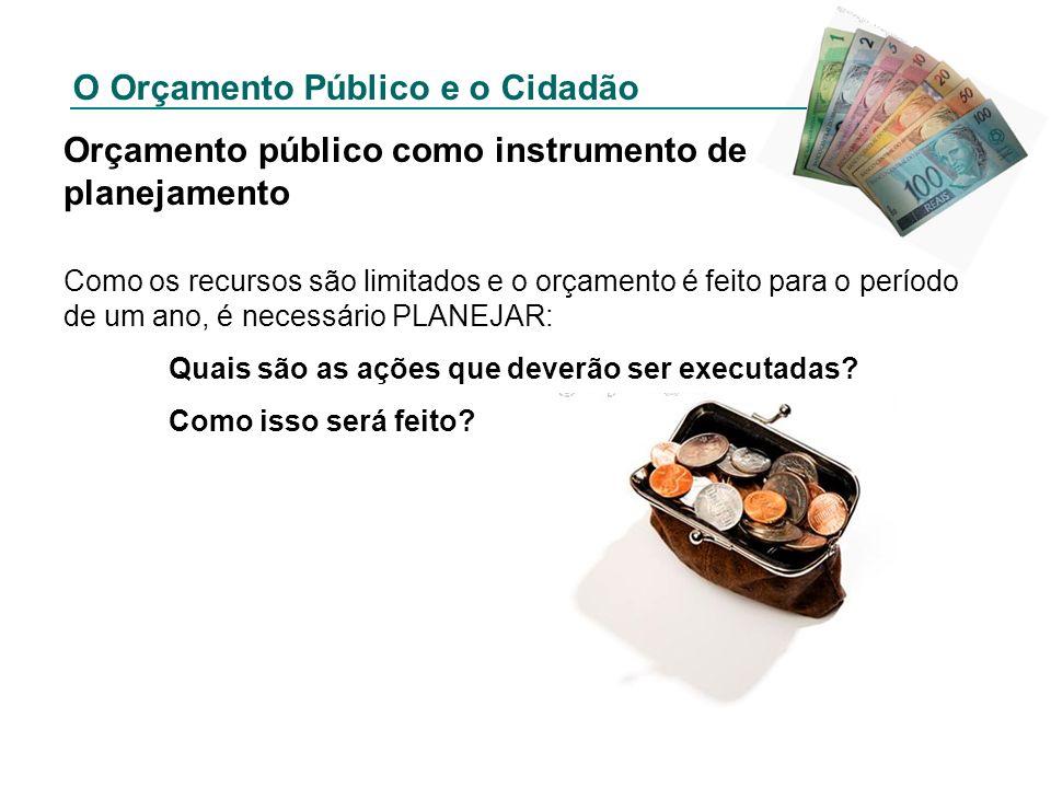 O Orçamento Público e o Cidadão Orçamento público como instrumento de planejamento Como os recursos são limitados e o orçamento é feito para o período