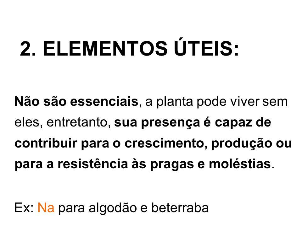 3.ELEMENTOS TÓXICOS: Quando são prejudiciais às plantas e não se enquadram nas classes anteriores.