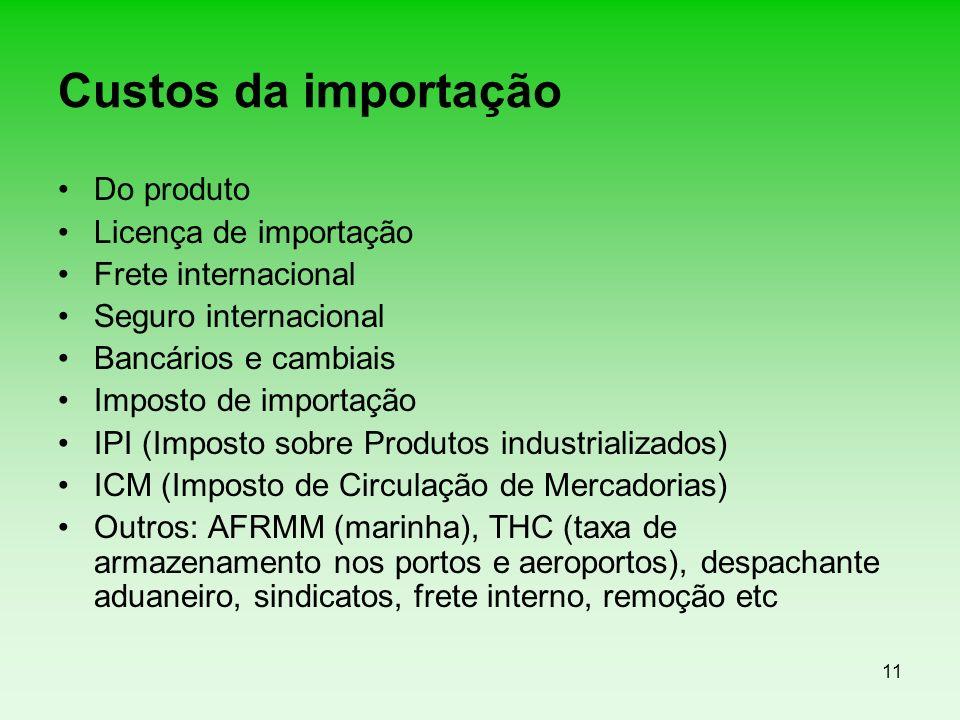 11 Custos da importação Do produto Licença de importação Frete internacional Seguro internacional Bancários e cambiais Imposto de importação IPI (Impo