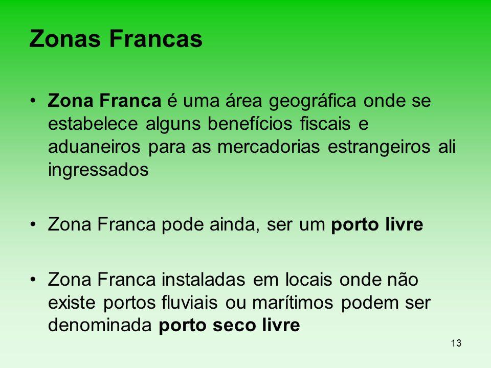 13 Zonas Francas Zona Franca é uma área geográfica onde se estabelece alguns benefícios fiscais e aduaneiros para as mercadorias estrangeiros ali ingr