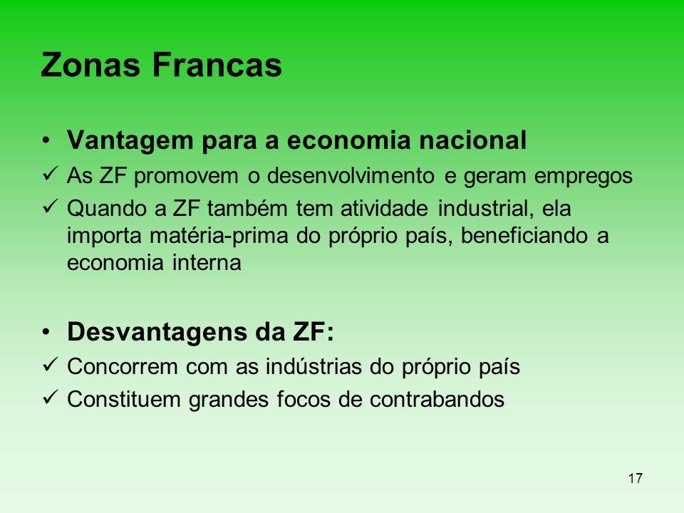 17 Zonas Francas Vantagem para a economia nacional As ZF promovem o desenvolvimento e geram empregos Quando a ZF também tem atividade industrial, ela