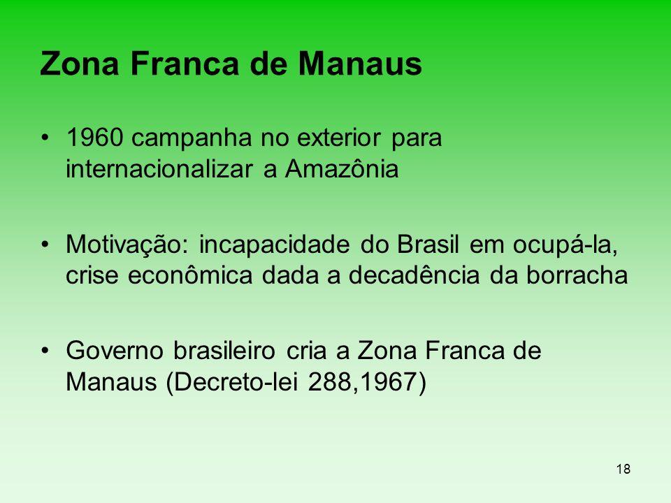 18 Zona Franca de Manaus 1960 campanha no exterior para internacionalizar a Amazônia Motivação: incapacidade do Brasil em ocupá-la, crise econômica da