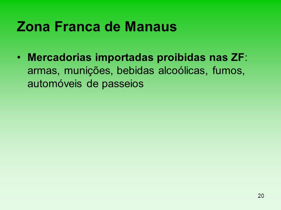 20 Zona Franca de Manaus Mercadorias importadas proibidas nas ZF: armas, munições, bebidas alcoólicas, fumos, automóveis de passeios