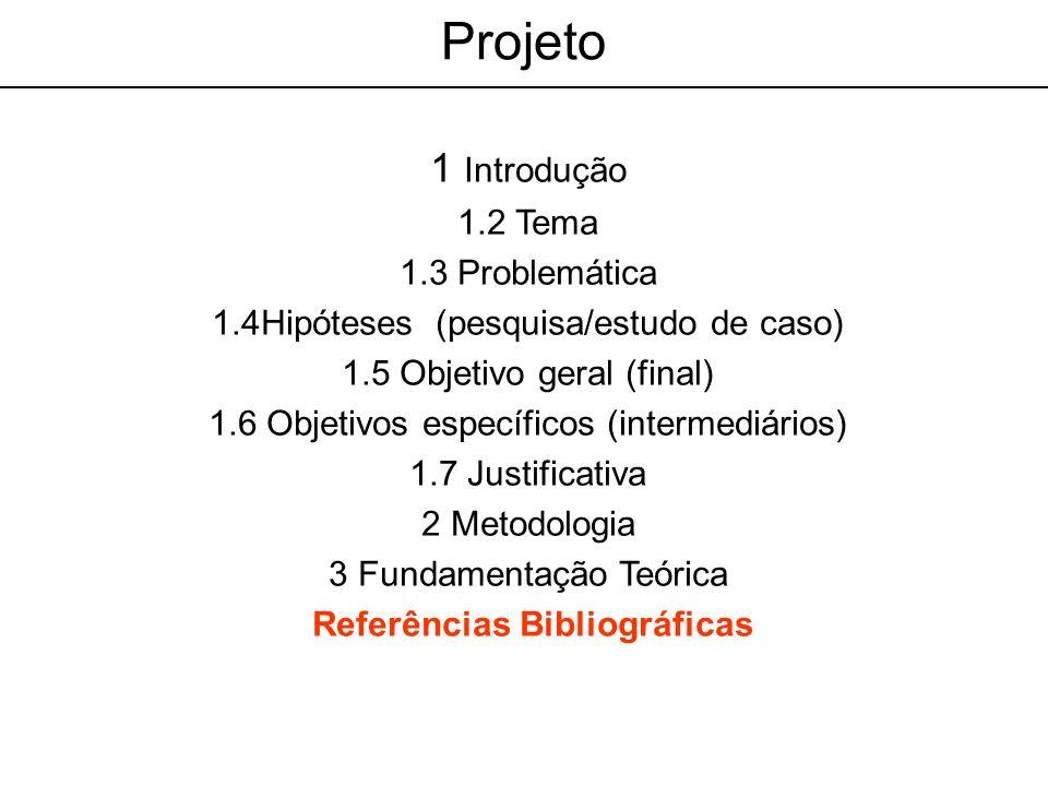 Projeto 1 Introdução 1.2 Tema 1.3 Problemática 1.4Hipóteses (pesquisa/estudo de caso) 1.5 Objetivo geral (final) 1.6 Objetivos específicos (intermediá
