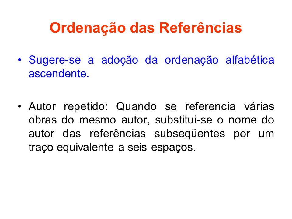 Ordenação das Referências Sugere-se a adoção da ordenação alfabética ascendente. Autor repetido: Quando se referencia várias obras do mesmo autor, sub