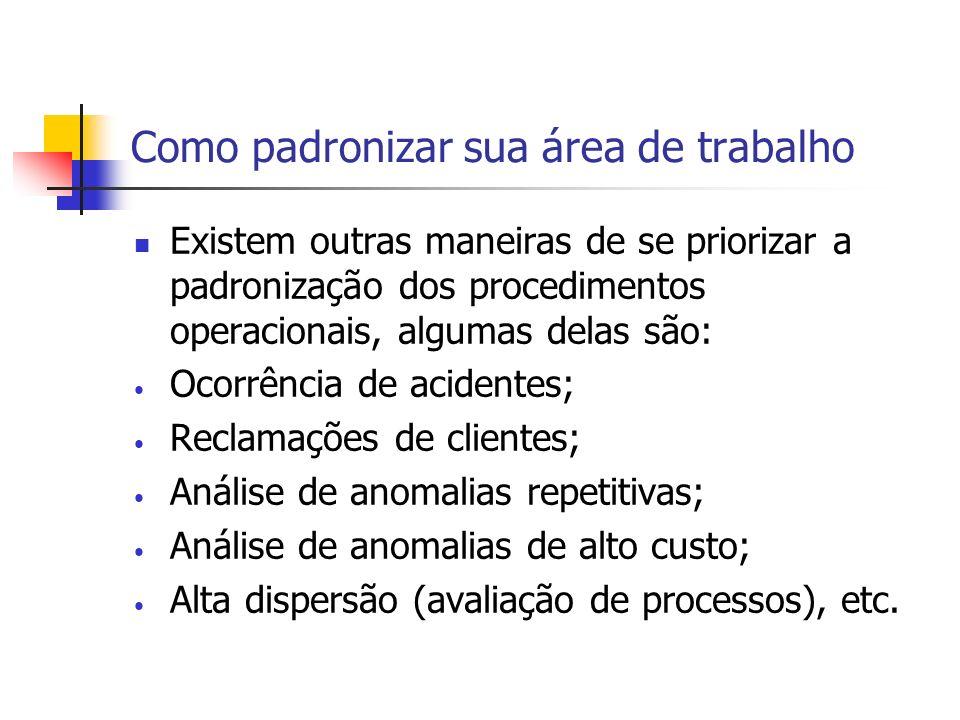 Como padronizar sua área de trabalho Existem outras maneiras de se priorizar a padronização dos procedimentos operacionais, algumas delas são: Ocorrên
