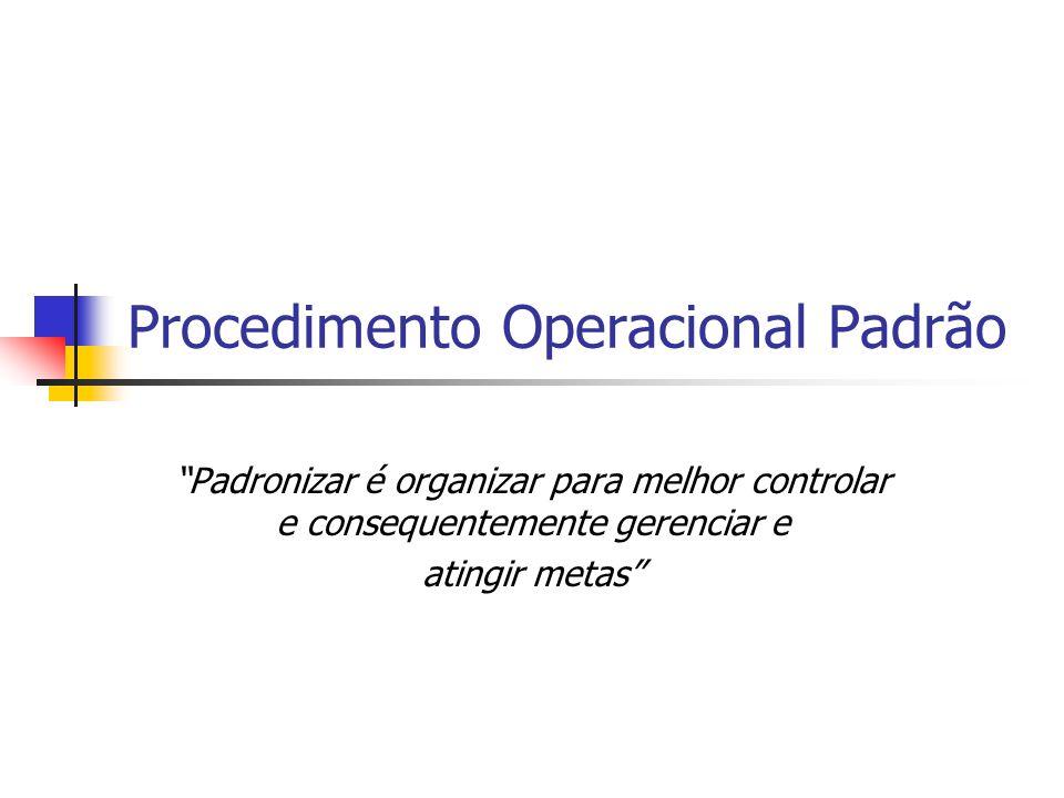Procedimento Operacional Padrão Padronizar é organizar para melhor controlar e consequentemente gerenciar e atingir metas