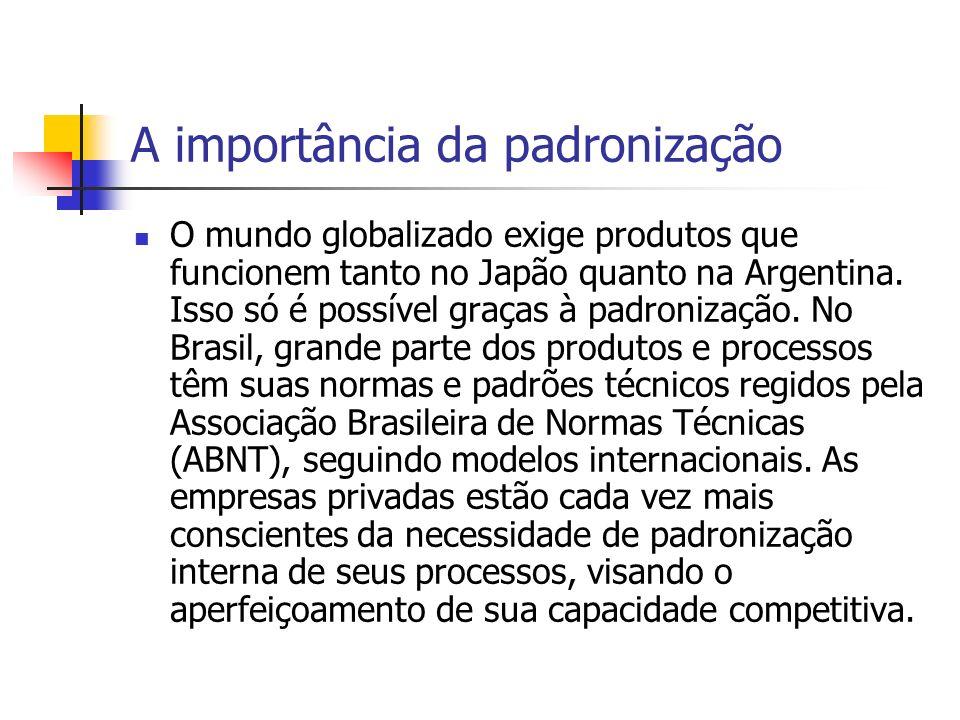 A importância da padronização O mundo globalizado exige produtos que funcionem tanto no Japão quanto na Argentina. Isso só é possível graças à padroni