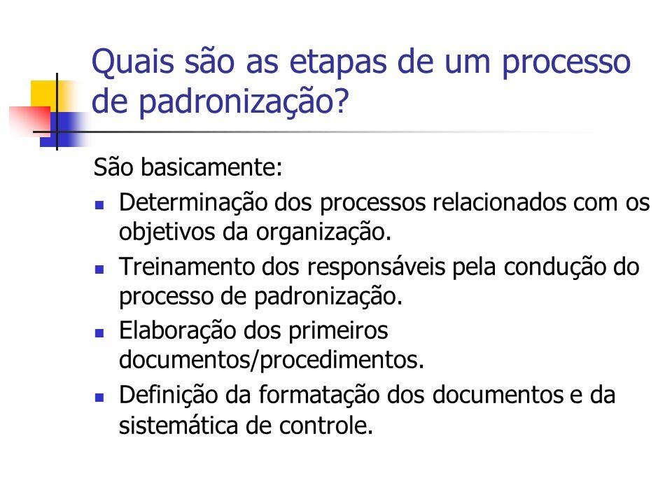 Quais são as etapas de um processo de padronização? São basicamente: Determinação dos processos relacionados com os objetivos da organização. Treiname