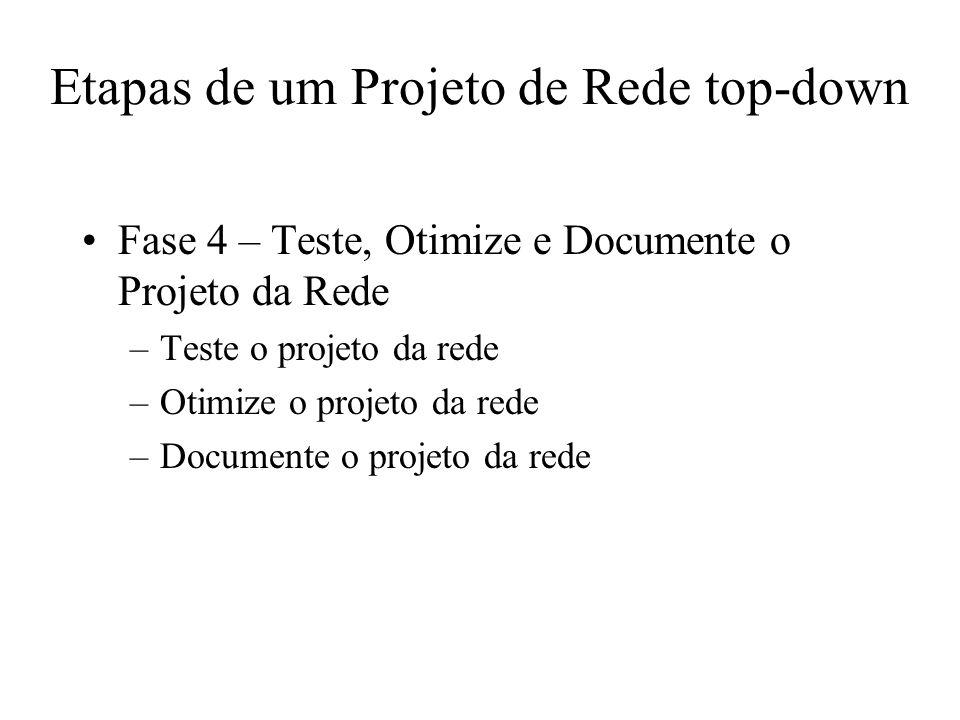 Etapas de um Projeto de Rede top-down Fase 4 – Teste, Otimize e Documente o Projeto da Rede –Teste o projeto da rede –Otimize o projeto da rede –Docum