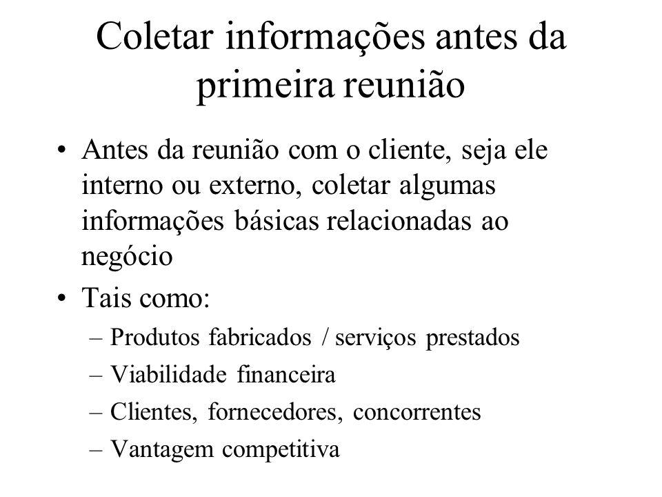 Coletar informações antes da primeira reunião Antes da reunião com o cliente, seja ele interno ou externo, coletar algumas informações básicas relacio