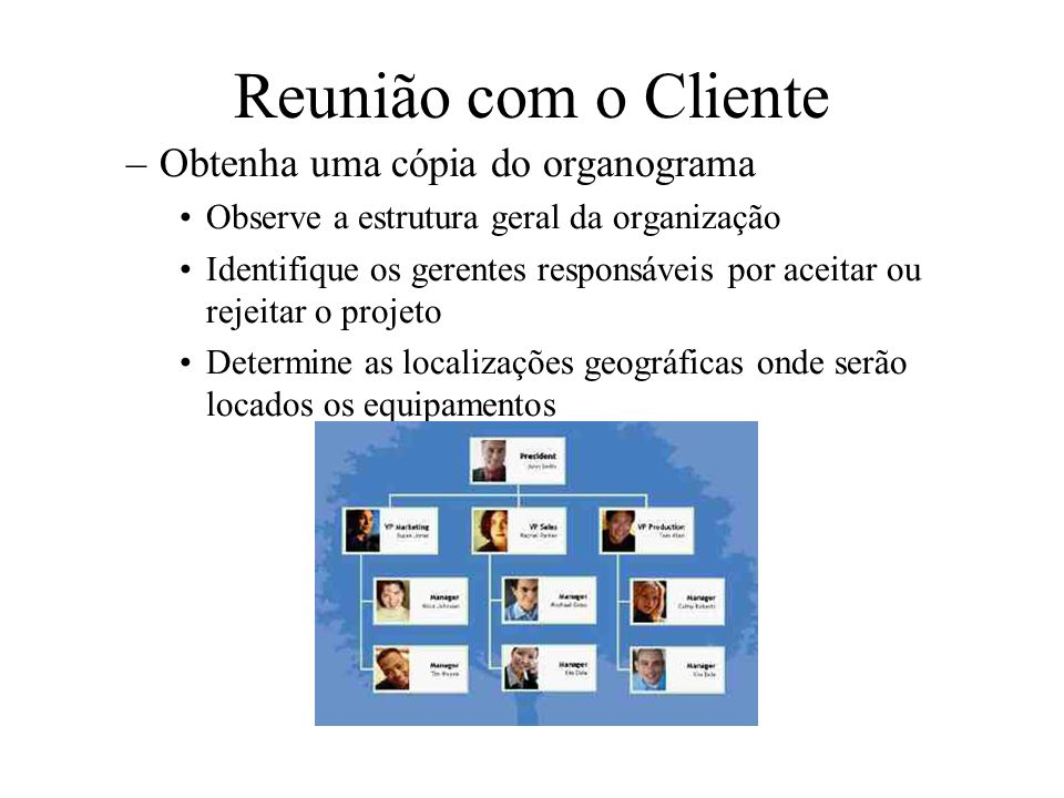 Reunião com o Cliente –Obtenha uma cópia do organograma Observe a estrutura geral da organização Identifique os gerentes responsáveis por aceitar ou r