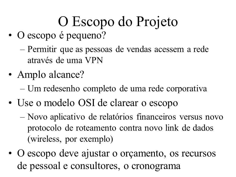 O Escopo do Projeto O escopo é pequeno? –Permitir que as pessoas de vendas acessem a rede através de uma VPN Amplo alcance? –Um redesenho completo de