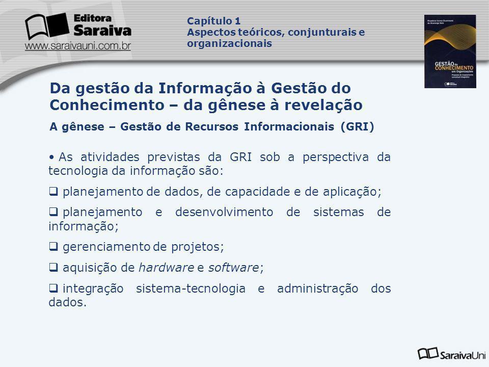 As atividades previstas da GRI sob a perspectiva da tecnologia da informação são: planejamento de dados, de capacidade e de aplicação; planejamento e
