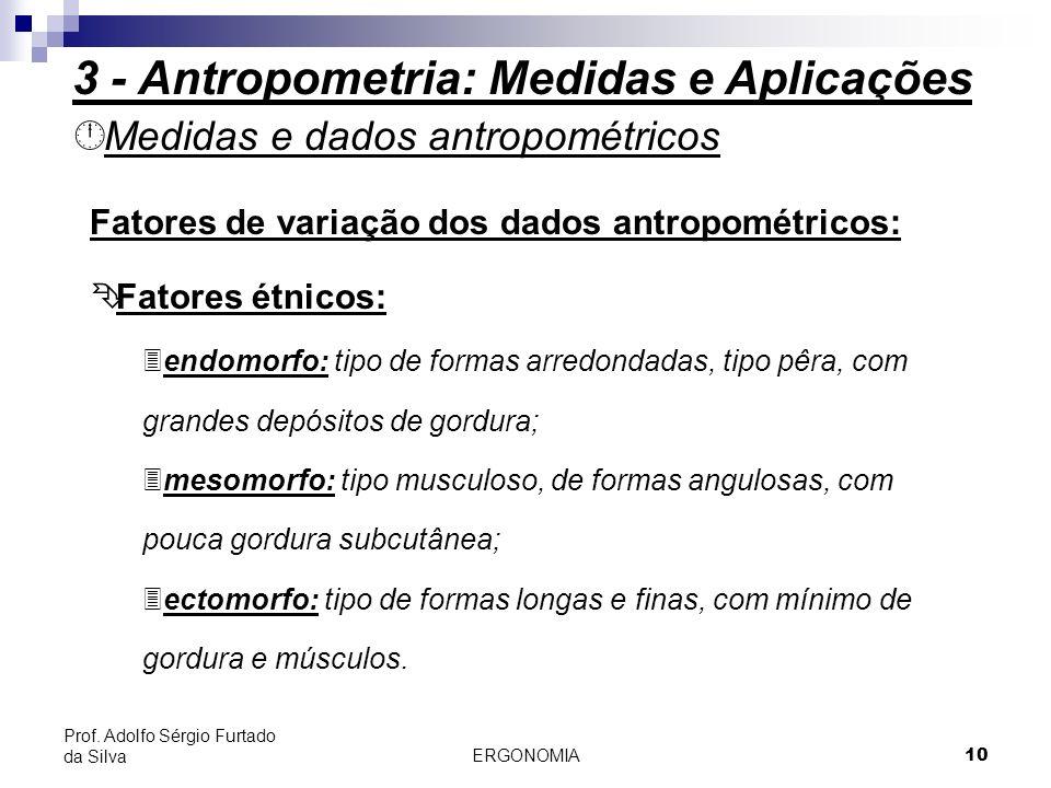 ERGONOMIA 10 Prof. Adolfo Sérgio Furtado da Silva Medidas e dados antropométricos Fatores de variação dos dados antropométricos: Fatores étnicos: 3e