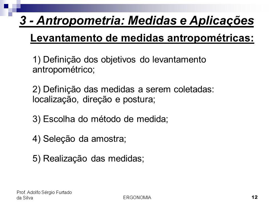ERGONOMIA 12 Prof. Adolfo Sérgio Furtado da Silva Levantamento de medidas antropométricas: 1) Definição dos objetivos do levantamento antropométrico;