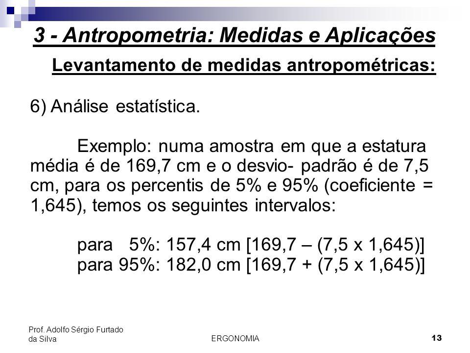 ERGONOMIA 13 Prof. Adolfo Sérgio Furtado da Silva Levantamento de medidas antropométricas: 6) Análise estatística. Exemplo: numa amostra em que a esta