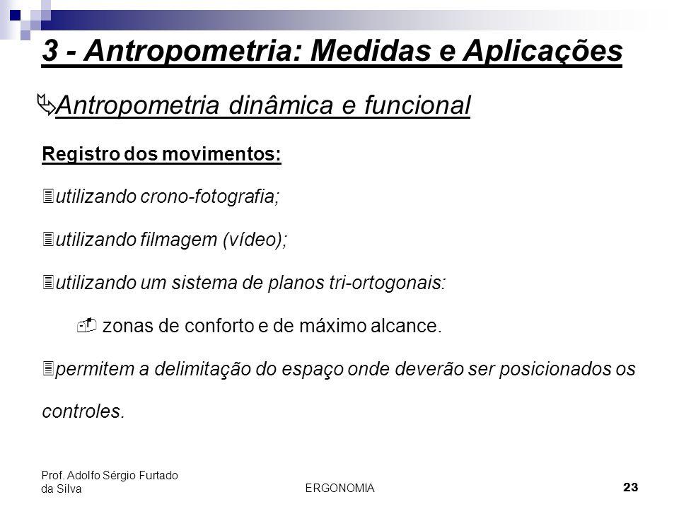 ERGONOMIA 23 Prof. Adolfo Sérgio Furtado da Silva Registro dos movimentos: 3utilizando crono-fotografia; 3utilizando filmagem (vídeo); 3utilizando um