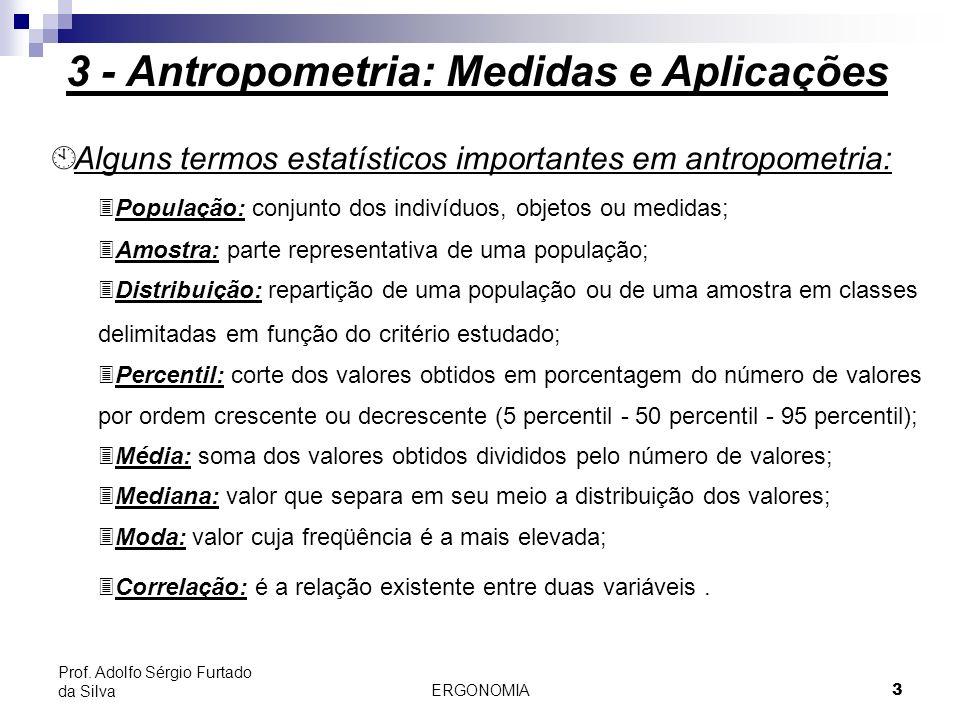 ERGONOMIA 3 Prof. Adolfo Sérgio Furtado da Silva 3 - Antropometria: Medidas e Aplicações À Alguns termos estatísticos importantes em antropometria: 3P