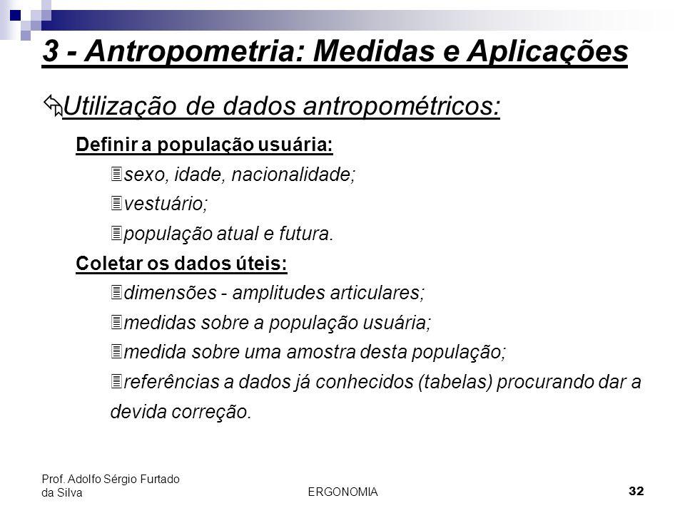 ERGONOMIA 32 Prof. Adolfo Sérgio Furtado da Silva Definir a população usuária: 3sexo, idade, nacionalidade; 3vestuário; 3população atual e futura. Col