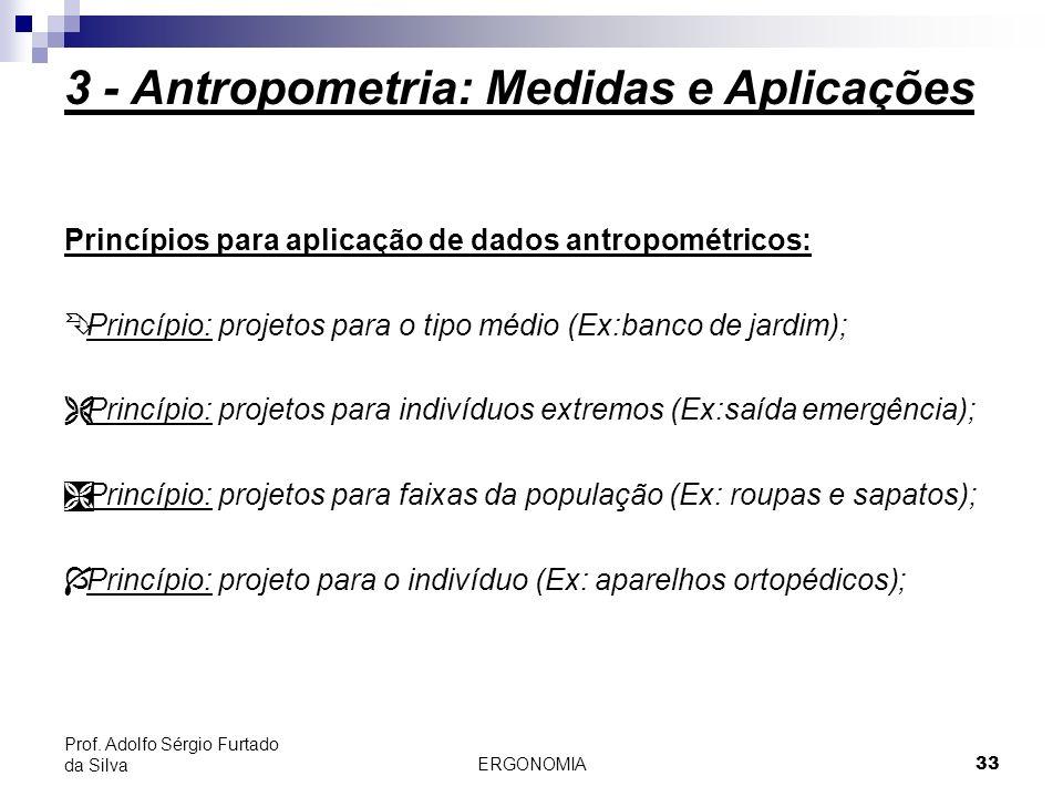 ERGONOMIA 33 Prof. Adolfo Sérgio Furtado da Silva Princípios para aplicação de dados antropométricos: Ê Princípio: projetos para o tipo médio (Ex:banc