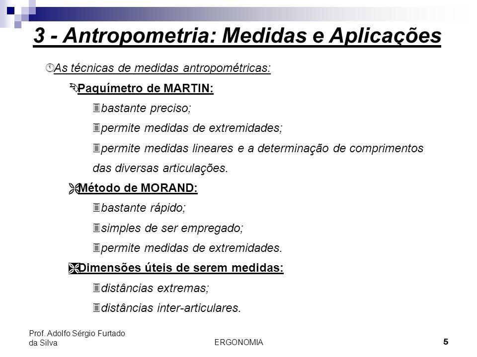 ERGONOMIA 5 Prof. Adolfo Sérgio Furtado da Silva Á Á As técnicas de medidas antropométricas: Paquímetro de MARTIN: 3bastante preciso; 3permite medidas