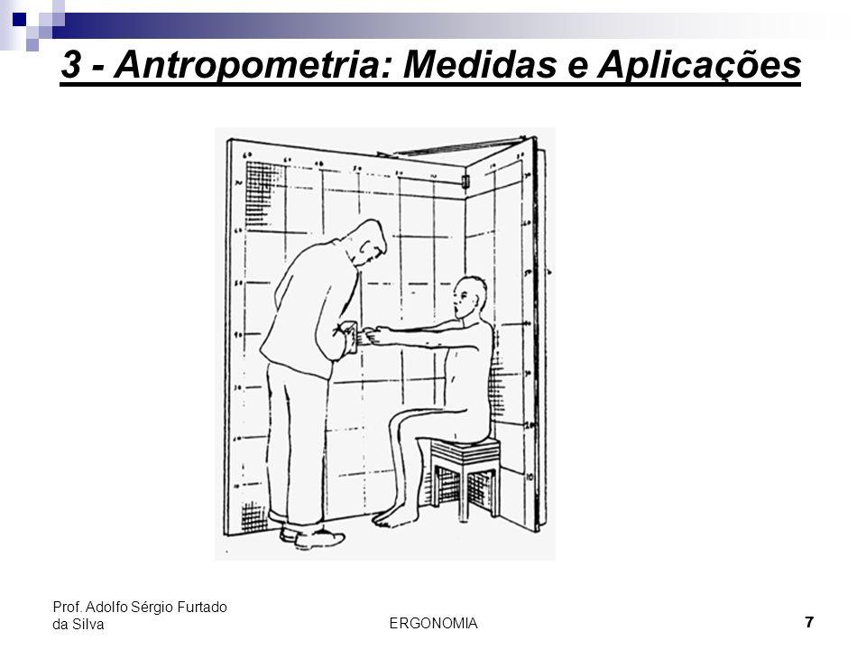 ERGONOMIA 7 Prof. Adolfo Sérgio Furtado da Silva 3 - Antropometria: Medidas e Aplicações