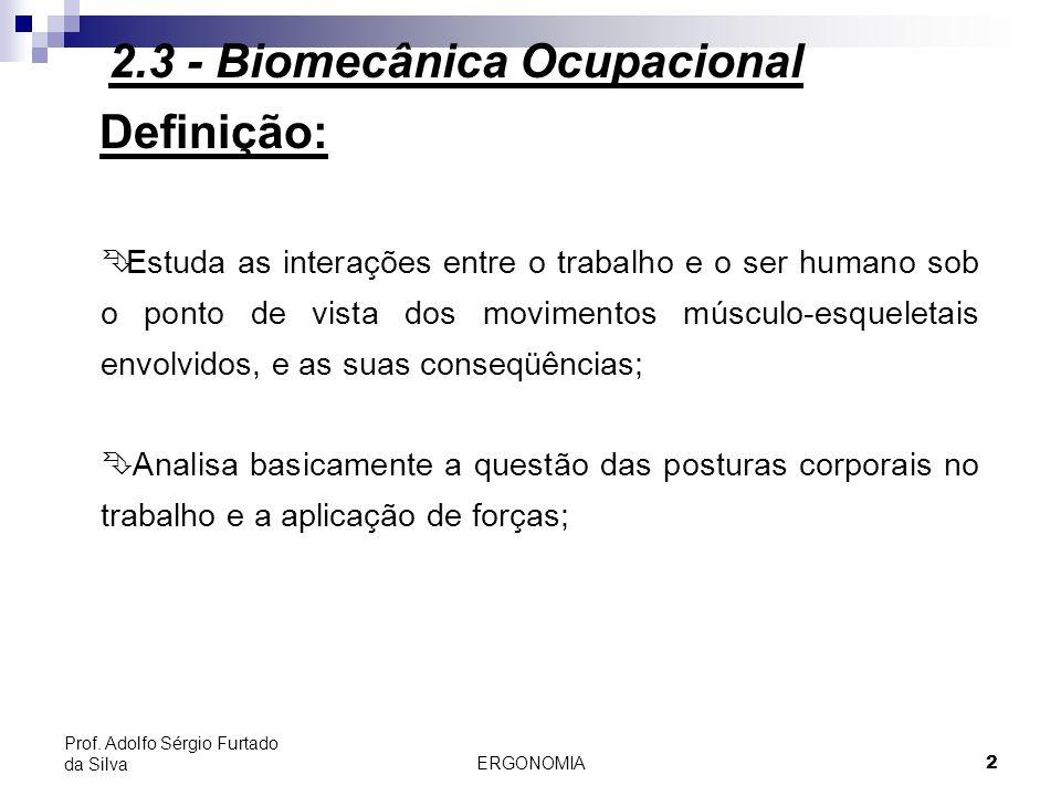 ERGONOMIA 3 Prof. Adolfo Sérgio Furtado da Silva Definição: 2.3 - Biomecânica Ocupacional