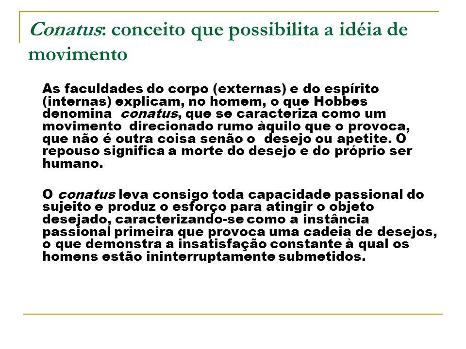 Conatus: conceito que possibilita a idéia de movimento As faculdades do corpo (externas) e do espírito (internas) explicam, no homem, o que Hobbes den