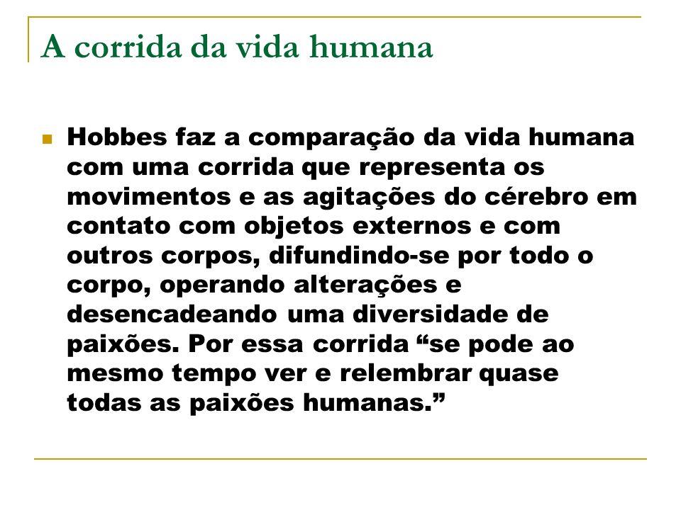 A corrida da vida humana Hobbes faz a comparação da vida humana com uma corrida que representa os movimentos e as agitações do cérebro em contato com