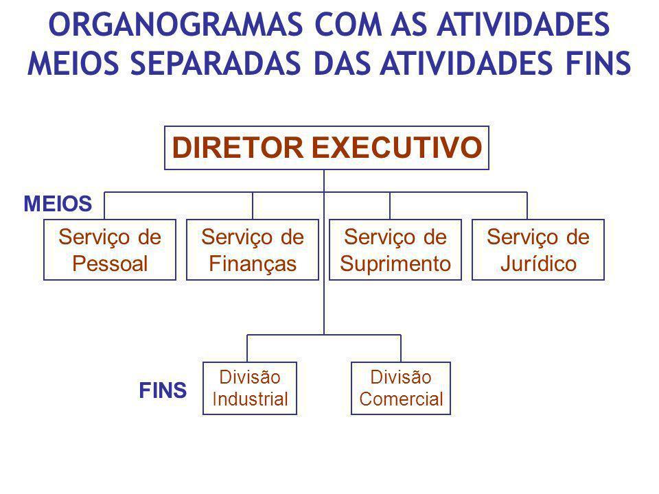 ORGANOGRAMAS COM AS ATIVIDADES MEIOS SEPARADAS DAS ATIVIDADES FINS DIRETOR EXECUTIVO Serviço de Pessoal Serviço de Finanças Serviço de Suprimento Serv