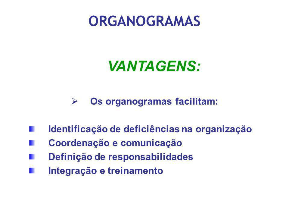 ORGANOGRAMAS VANTAGENS: Os organogramas facilitam: Identificação de deficiências na organização Coordenação e comunicação Definição de responsabilidad