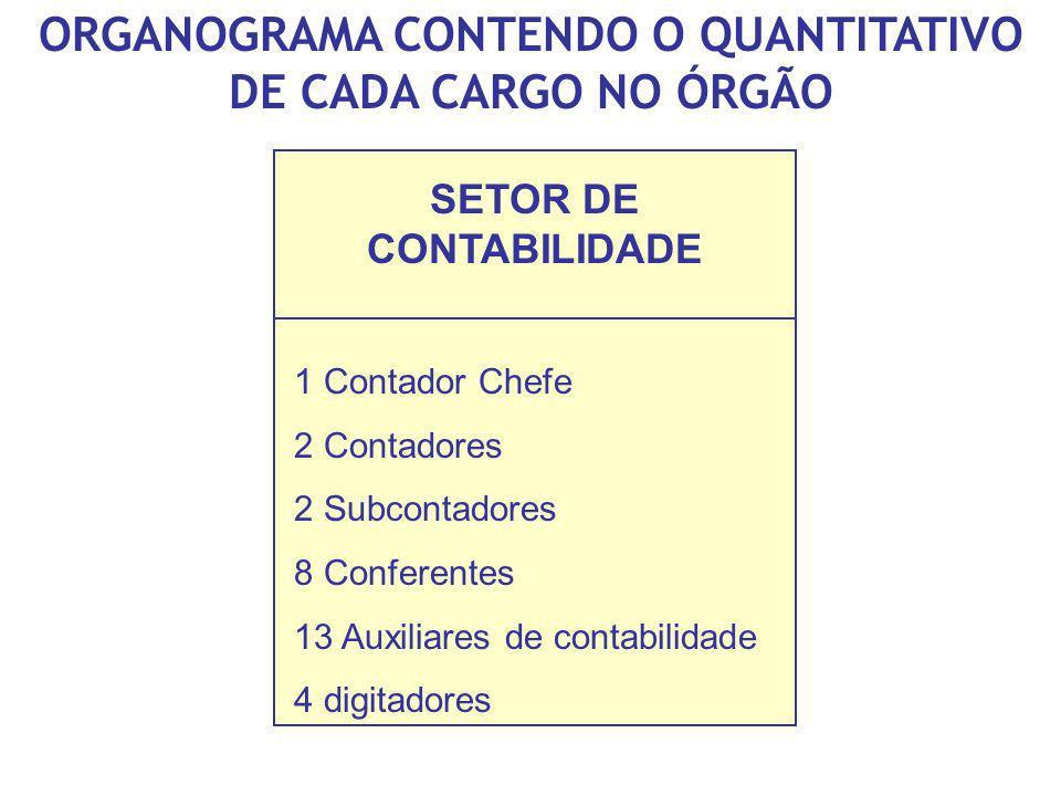 ORGANOGRAMA CONTENDO O QUANTITATIVO DE CADA CARGO NO ÓRGÃO SETOR DE CONTABILIDADE 1 Contador Chefe 2 Contadores 2 Subcontadores 8 Conferentes 13 Auxil
