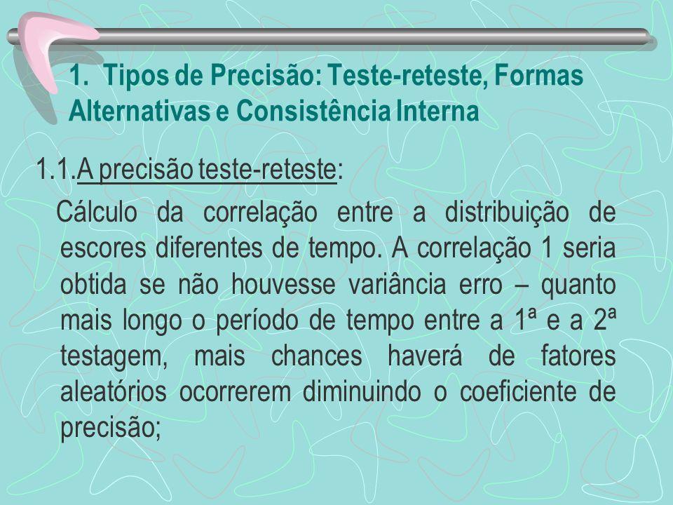 1. Tipos de Precisão: Teste-reteste, Formas Alternativas e Consistência Interna 1.1.A precisão teste-reteste: Cálculo da correlação entre a distribuiç