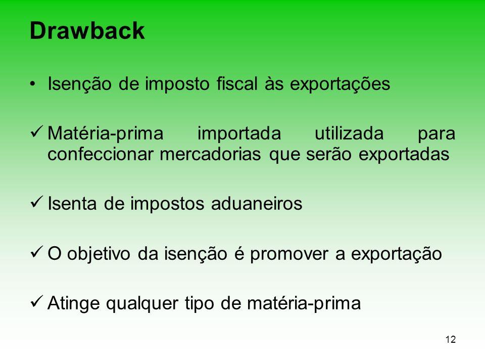 12 Drawback Isenção de imposto fiscal às exportações Matéria-prima importada utilizada para confeccionar mercadorias que serão exportadas Isenta de im
