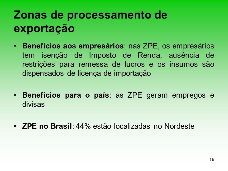 16 Zonas de processamento de exportação Benefícios aos empresários: nas ZPE, os empresários tem isenção de Imposto de Renda, ausência de restrições pa