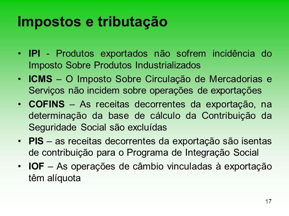 17 Impostos e tributação IPI - Produtos exportados não sofrem incidência do Imposto Sobre Produtos Industrializados ICMS – O Imposto Sobre Circulação
