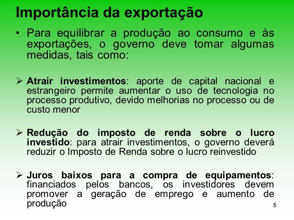 5 Importância da exportação Para equilibrar a produção ao consumo e às exportações, o governo deve tomar algumas medidas, tais como: Atrair investimen
