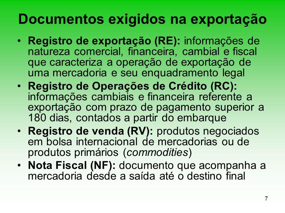 7 Documentos exigidos na exportação Registro de exportação (RE): informações de natureza comercial, financeira, cambial e fiscal que caracteriza a ope