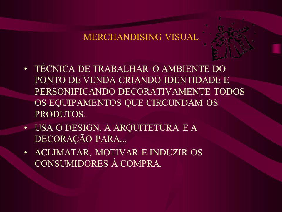 MERCHANDISING VISUAL TÉCNICA DE TRABALHAR O AMBIENTE DO PONTO DE VENDA CRIANDO IDENTIDADE E PERSONIFICANDO DECORATIVAMENTE TODOS OS EQUIPAMENTOS QUE C