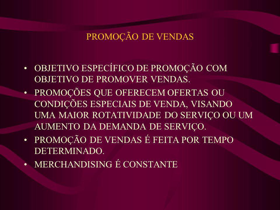 PROMOÇÃO DE VENDAS OBJETIVO ESPECÍFICO DE PROMOÇÃO COM OBJETIVO DE PROMOVER VENDAS. PROMOÇÕES QUE OFERECEM OFERTAS OU CONDIÇÕES ESPECIAIS DE VENDA, VI
